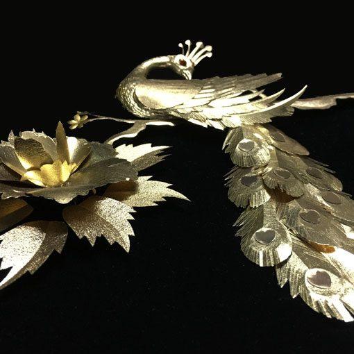 تابلو ورق طلا طاووس